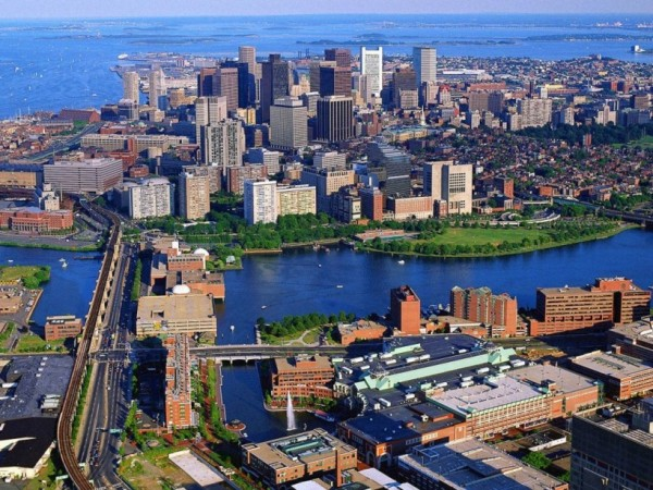 Boston City MA Aerial View