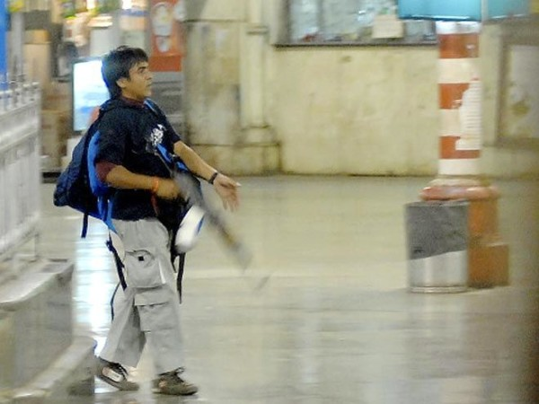 Ajmal Kasab at CST Railway Station in Mumbai