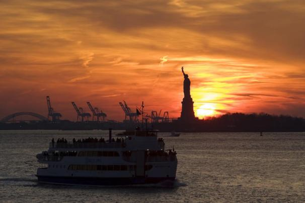 Staten Island Ferry Sunset in NYC