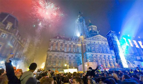 Dam Square Amsterdam New Years Eve Fireworks