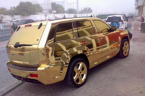 Gold Car in Dubai