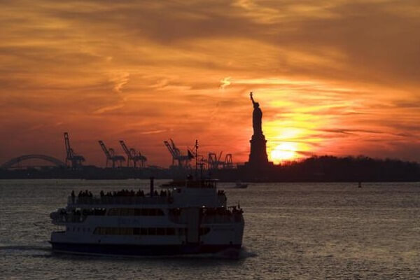 Staten Island Ferry at Sunset in NYC
