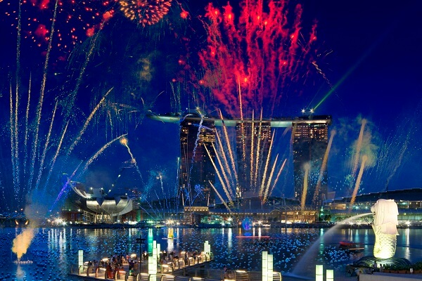 Marina Bay Sands New Year Fireworks