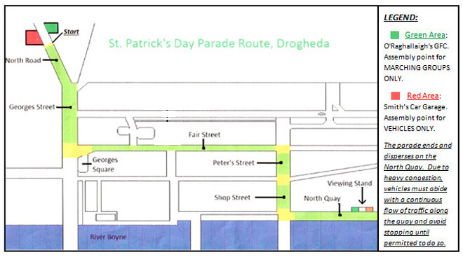Drogheda Route map for St Patricks Day
