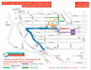 Route Map for Christmas Parade in La Jolla CA