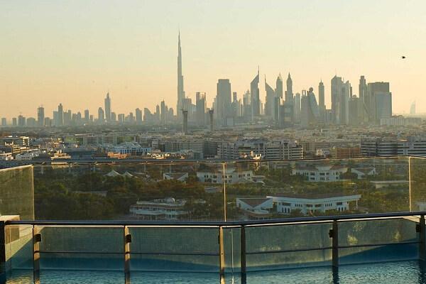 Burj Khalifa and Burj Al Arab View from Terrace Pool of Hilton Dubai Creek