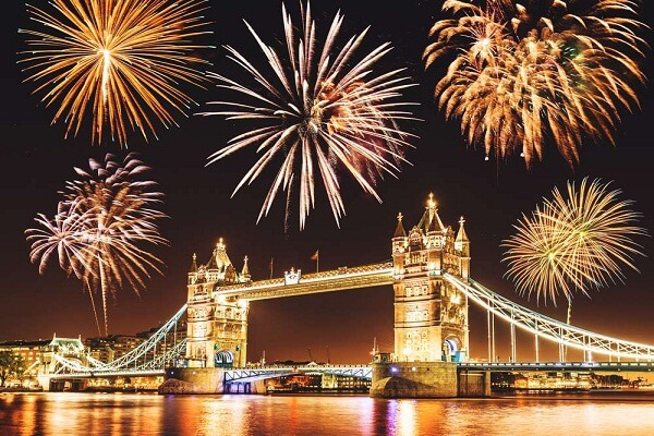 New Years Eve Fireworks Show Over Tower Bridge London