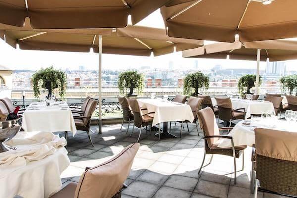 Terrace Dining Area at Le Palais Art Hotel Prague