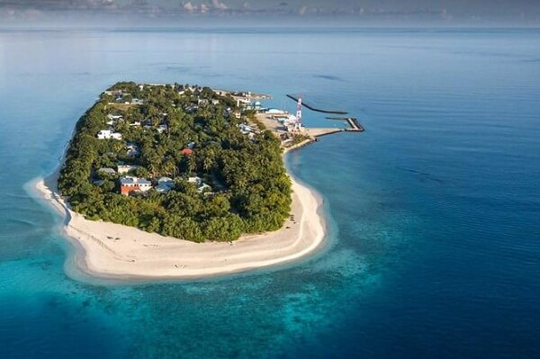 Aerial View Scene of Beach Villa Ukulhas